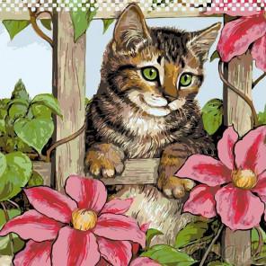 Раскладка За цветущей оградой Раскраска картина по номерам на холсте A129