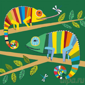 Раскладка Хамелеоны Раскраска картина по номерам на холсте A91