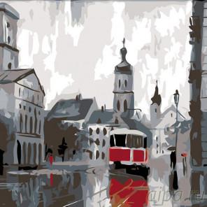 Раскладка Питерский трамвай Раскраска картина по номерам на холсте AB01