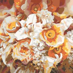 Раскладка Оранжевый букет Раскраска картина по номерам на холсте F16