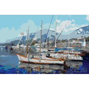Корабли у причала Раскраска картина по номерам на холсте KRYM-CR07