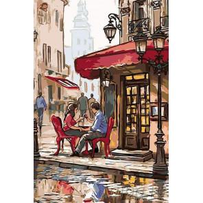 Свидание в кафе Раскраска картина по номерам на холсте GP04
