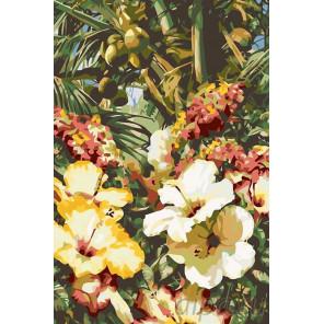 Тропические цветы Раскраска картина по номерам на холсте F21
