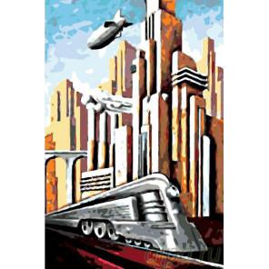 Футуристический город Раскраска картина по номерам на холсте PA52