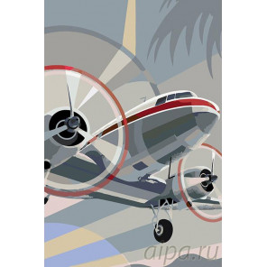 Винтовой самолет Раскраска картина по номерам на холсте PA55