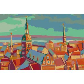 Закат в городе Раскраска картина по номерам на холсте LV01