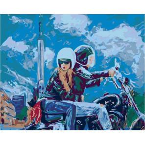Пара на мотоцикле Раскраска картина по номерам на холсте LV22