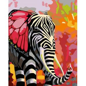 Раскладка Полосатый слон Раскраска картина по номерам на холсте A212