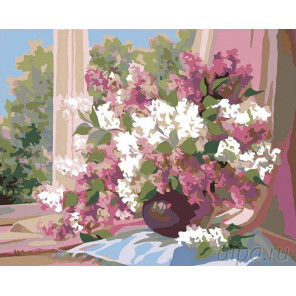 Раскладка Сирень на окне Раскраска картина по номерам на холсте F11