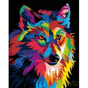 Радужный волк Раскраска картина по номерам на холсте PA05