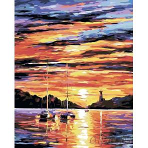 Закат на побережье Раскраска картина по номерам на холсте LA40
