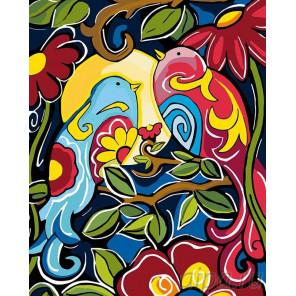 Птички на ветке Раскраска картина по номерам на холсте A95