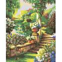 Пруд в саду Раскраска картина по номерам на холсте