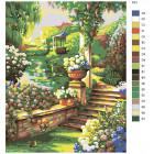 Раскладка Пруд в саду Раскраска картина по номерам на холсте PP01
