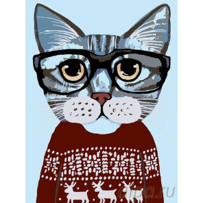 В красном свитере Раскраска картина по номерам на холсте A195