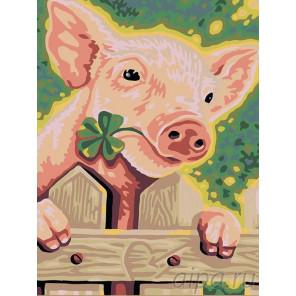 Поросенок Раскраска картина по номерам на холсте A55