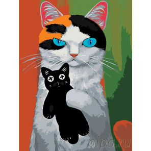 Раскладка Любимая игрушка-котик Раскраска картина по номерам на холсте A352