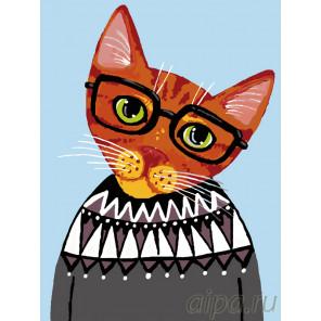 Кот в свитере Раскраска по номерам на холсте Живопись по номерам A313