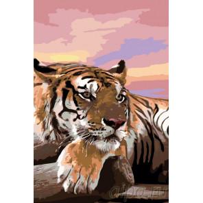 Тигр на закате Раскраска по номерам на холсте Живопись по номерам A391