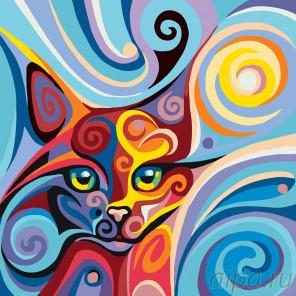 Кошка в завитках Раскраска по номерам на холсте Живопись по номерам A392