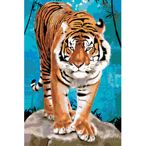 Тигр на камнях Раскраска по номерам на холсте Живопись по номерам A393