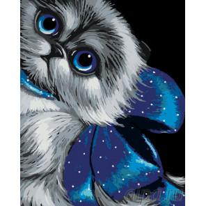Кошка с голубым бантом Раскраска по номерам на холсте Живопись по номерам A410