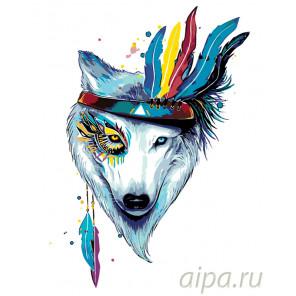 Красочный тотем волка Раскраска по номерам на холсте Живопись по номерам PA108