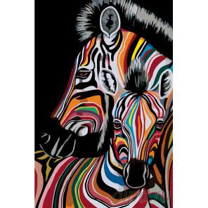 Две радужные зебры Раскраска по номерам на холсте Живопись по номерам PA111