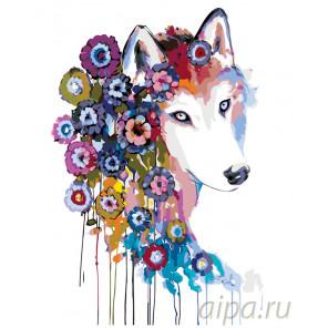 Цветочная собака Раскраска по номерам на холсте Живопись по номерам PA122