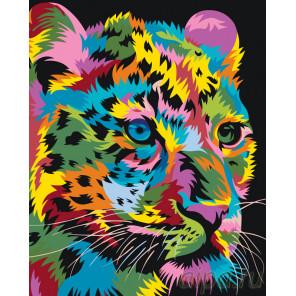 Раскладка Молодой радужный леопард Раскраска по номерам на холсте Живопись по номерам PA126