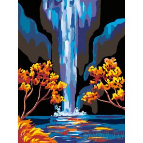 Схема Золотые листья и водопад Раскраска по номерам на холсте Живопись по номерам RA086