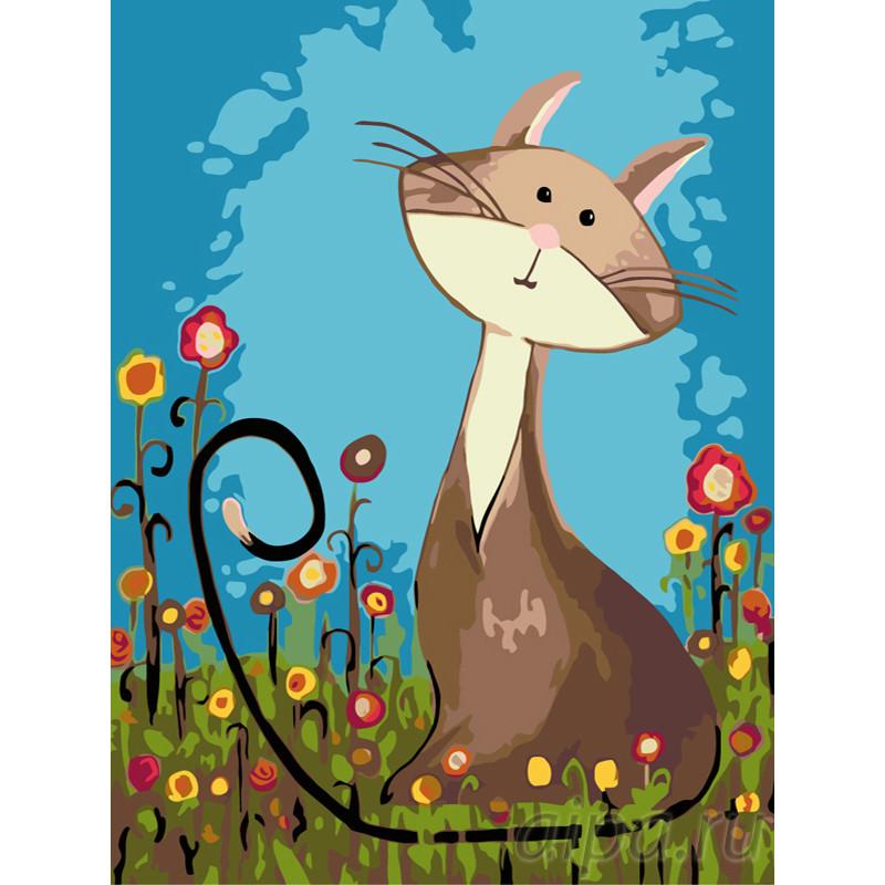 RA089-75x100 Котик на полянке Раскраска по номерам на ...