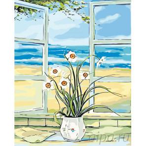 Схема Нарцисcы на окне Раскраска по номерам на холсте Живопись по номерам RA158
