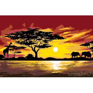 Африканская жизнь Раскраска по номерам на холсте Живопись по номерам RA161