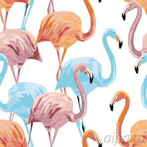 Цветные фламинго Раскраска по номерам на холсте Живопись по номерам RA166