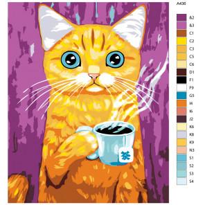 Схема Утренний чай Раскраска по номерам на холсте Живопись по номерам A436