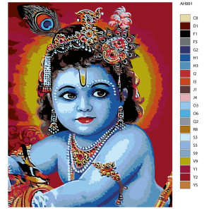 Раскладка Восточная богиня Раскраска по номерам на холсте Живопись по номерам ARTH-AH991