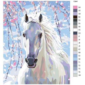 Схема Весенняя лошадь Раскраска по номерам на холсте Живопись по номерам KTMK-13941