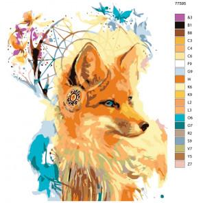 Раскладка Лисица-ловец снов Раскраска по номерам на холсте Живопись по номерам KTMK-77595