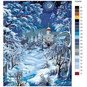 Раскладка Зимний храм Раскраска по номерам на холсте Живопись по номерам RUS038