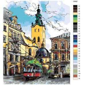 Раскладка Городская улочка Раскраска по номерам на холсте Живопись по номерам UA02