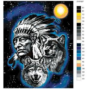 Раскладка Тотем шамана Раскраска по номерам на холсте Живопись по номерам Z-Z101527