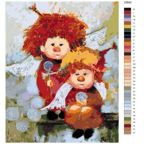Раскладка Ангелы с одуванчиками Раскраска по номерам на холсте Живопись по номерам Z-Z3642