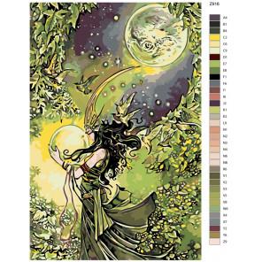 Схема Лунная повелительница Раскраска по номерам на холсте Живопись по номерам Z-Z916