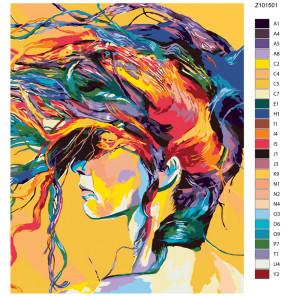 Раскладка Радужная прическа Раскраска по номерам на холсте Живопись по номерам Z101501