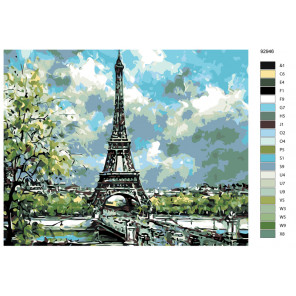 Раскладка Лето в Париже Раскраска по номерам на холсте Живопись по номерам KTMK-92946