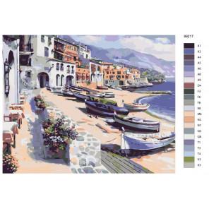 Раскладка Лодки на побережье Раскраска по номерам на холсте Живопись по номерам KTMK-99217