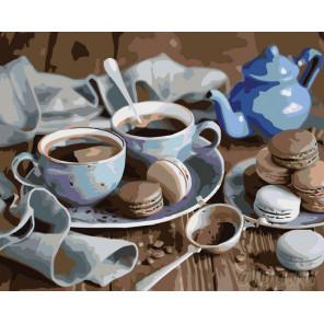 Раскладка Чай с пирожными Раскраска картина по номерам на холсте KTMK-73766