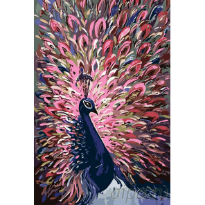 Павлин с розовым хвостом Раскраска картина по номерам на холсте A429