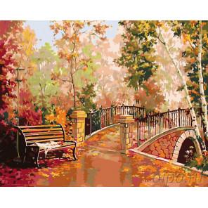 Мостик в осеннем парке Раскраска картина по номерам на холсте RA226